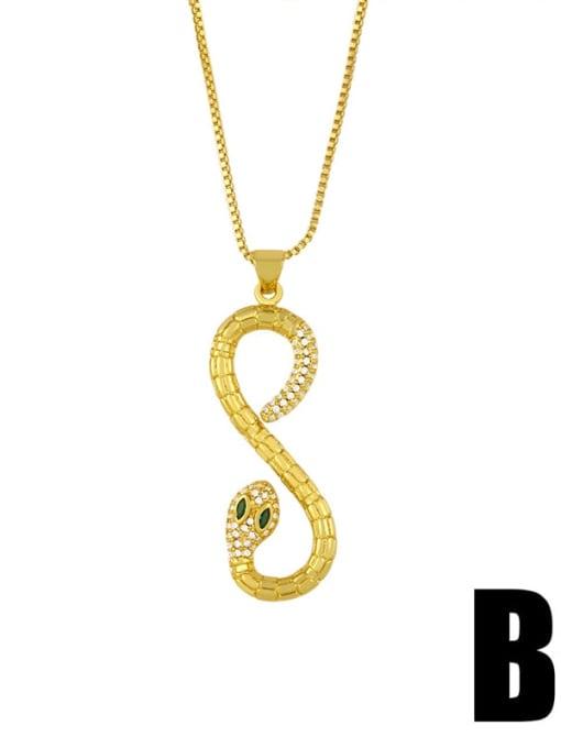 B Brass Cubic Zirconia Snake Vintage Necklace