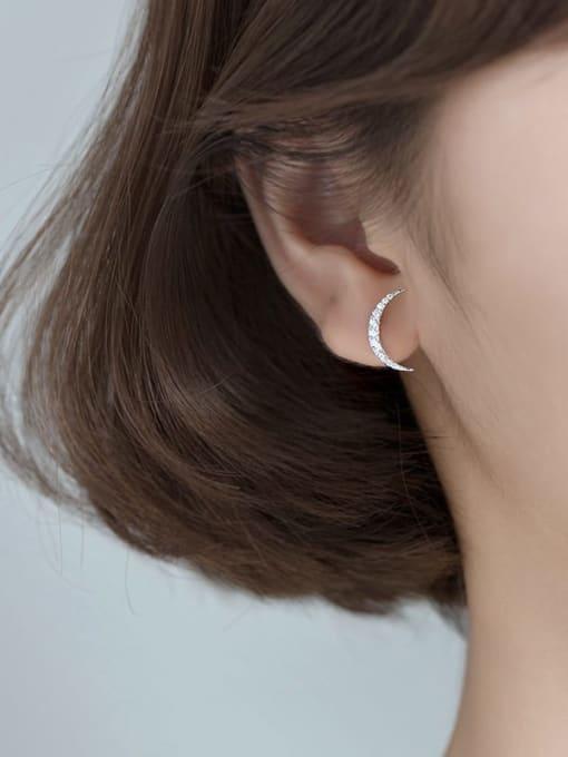 Rosh 925 Sterling Silver Cubic Zirconia Asymmetry Moon Tassel Minimalist Huggie Earring 2