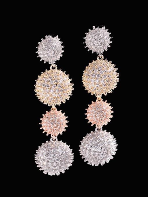 Tricolor gold Brass Cubic Zirconia Geometric Luxury Drop Earring