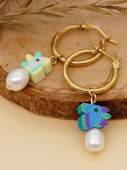 Roxi Stainless steel MGB Bead Multi Color Heart Bohemia Huggie Earring 2