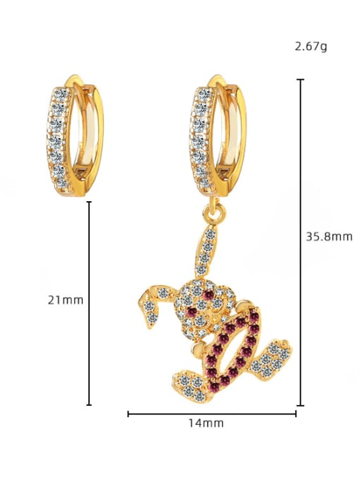 DUDU Brass Cubic Zirconia  Vintage Asymmetry rabbit Huggie Earring 2