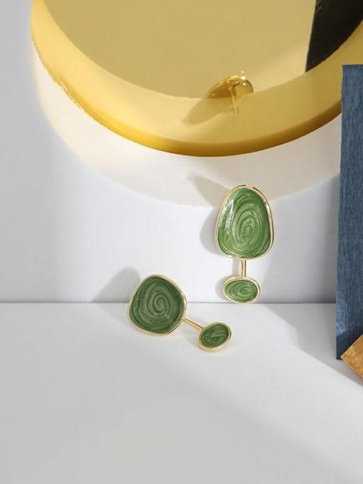 DAKA 925 Sterling Silver Enamel  Asymmetry Geometric Vintage Drop Earring 1