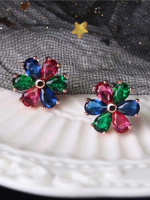 DUDU Brass Cubic Zirconia Multi Color Flower Dainty Stud Earring 1