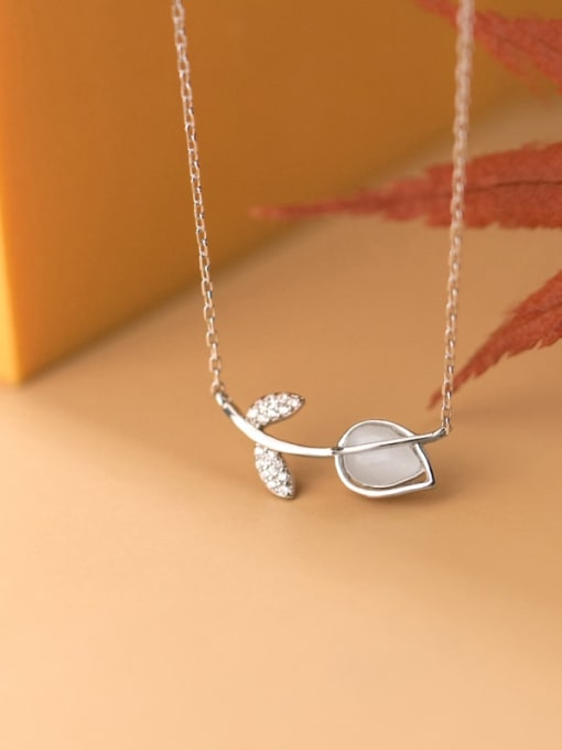 Rosh 925 Sterling Silver Cats Eye Flower Minimalist  pendant Necklace 3