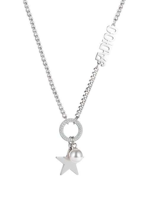 Open Sky Titanium Steel Imitation Pearl Letter Hip Hop Necklace 0