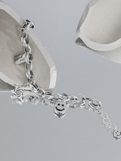 DAKA 925 Sterling Silver Smiley Chain Vintage  Link Bracelet 3