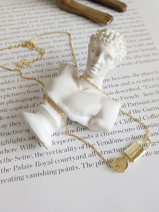 Lock key necklace B503 925 Sterling Silver Locket Minimalist Necklace