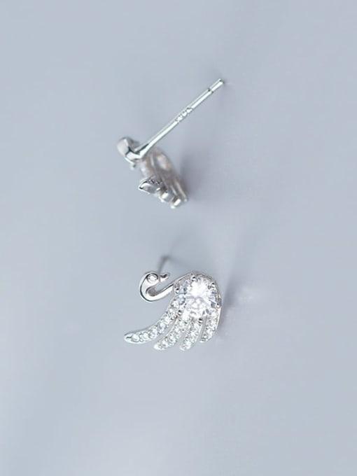 Rosh 925 Sterling Silver Cubic Zirconia Swan Cute Stud Earring 1