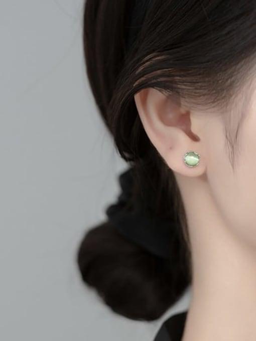 Rosh 925 Sterling Silver Opal Geometric Cute Stud Earring 1