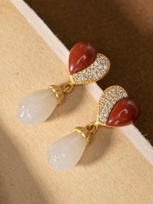 DEER 925 Sterling Silver Carnelian Heart Vintage Drop Earring 2
