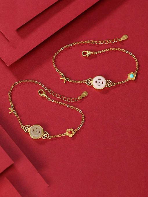 DEER 925 Sterling Silver Jade Geometric Minimalist Link Bracelet