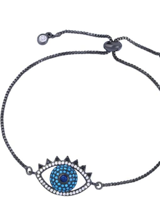 black Brass Cubic Zirconia Evil Eye Minimalist Adjustable Bracelet