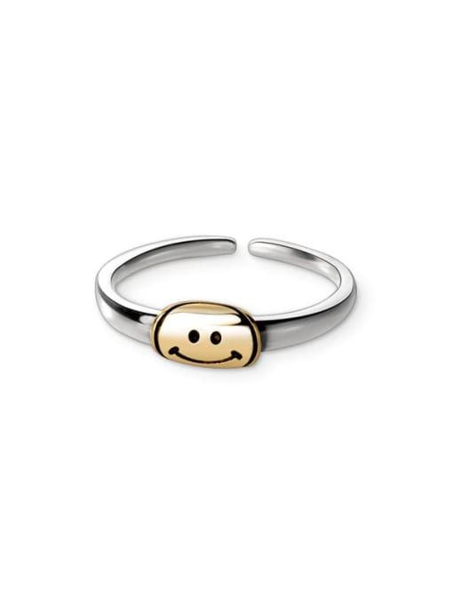 Rosh 925 Sterling Silver Smiley Minimalist Band Ring 0