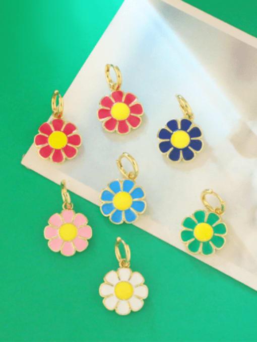 CC Brass Enamel Flower Minimalist Huggie Earring 1