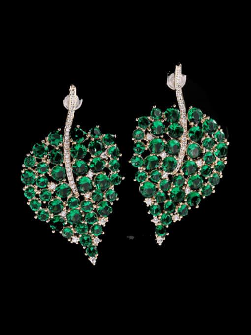 Green Brass Cubic Zirconia Leaf Bohemia Stud Earring