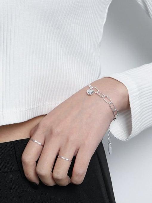 DAKA 925 Sterling Silver Heart Vintage Link Bracelet 2