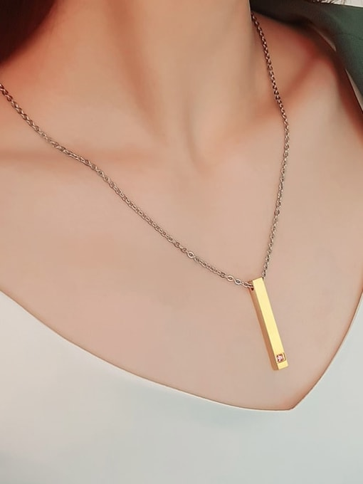 CONG 925 Sterling Silver Rhinestone Geometric Minimalist Necklace 3