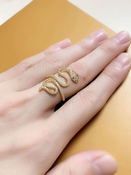 CC Brass Cubic Zirconia Snake Vintage Band Ring 3
