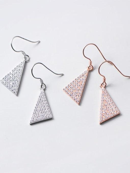 Rosh 925 Sterling Silver Cubic Zirconia Triangle Dainty Hook Earring 1