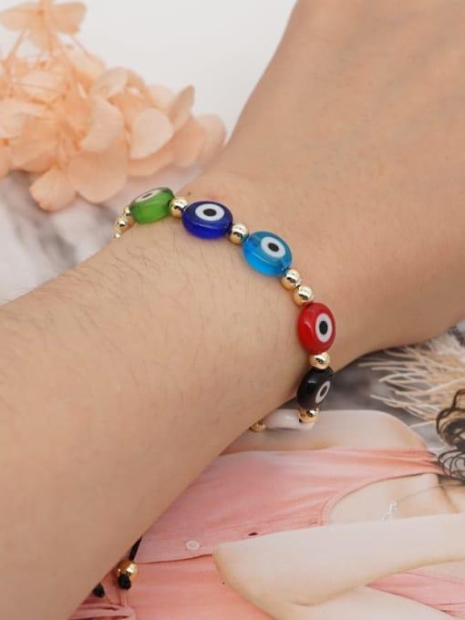 Roxi Stainless steel Glass Bead Multi Color Evil Eye Bohemia Adjustable Bracelet 1
