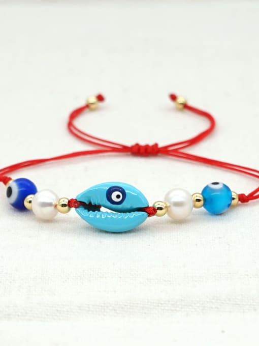 B B200052A Stainless steel Freshwater Pearl Multi Color Irregular Bohemia Adjustable Bracelet