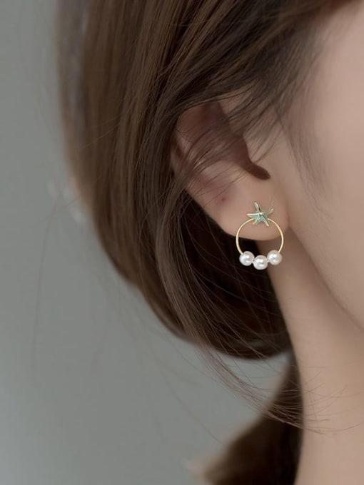 Rosh 925 Sterling Silver Imitation Pearl Enamel Star Vintage Stud Earring 1