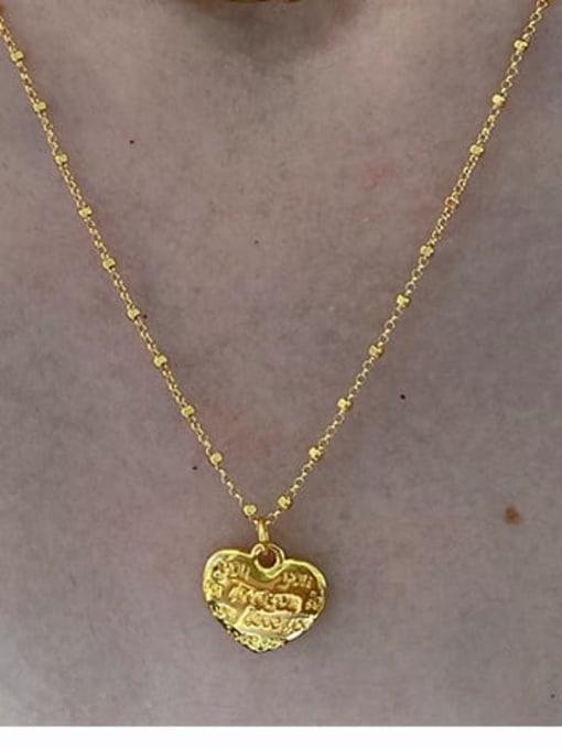 Heart shaped English Pendant Brass Imitation Pearl Geometric Hip Hop Necklace