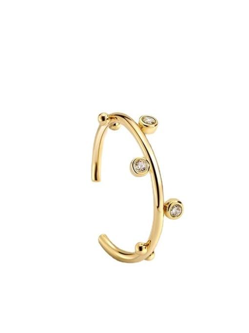 CHARME Brass Rhinestone Irregular Minimalist Band Ring 4