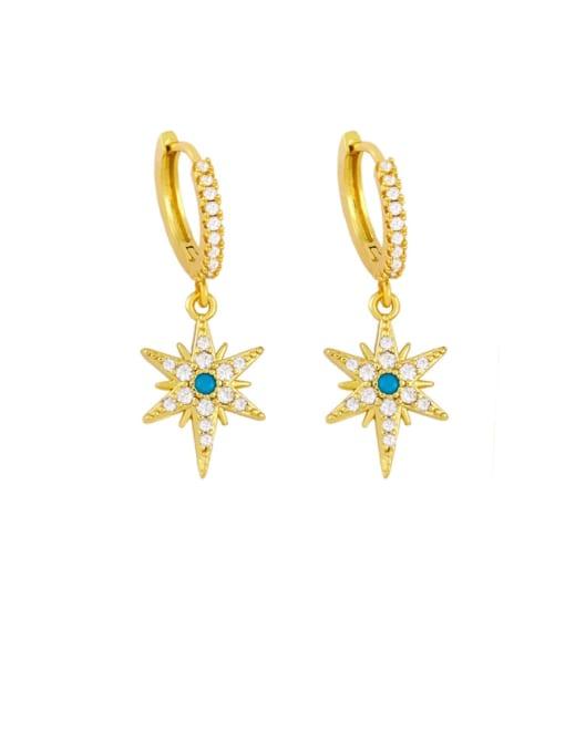 Six stars Brass Cubic Zirconia Star Hip Hop Huggie Earring