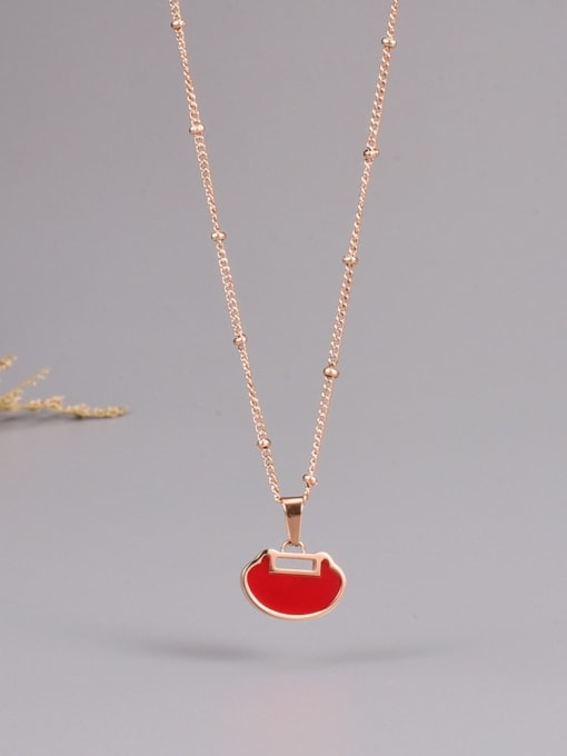 A TEEM Titanium Steel Enamel Heart Minimalist Necklace 0