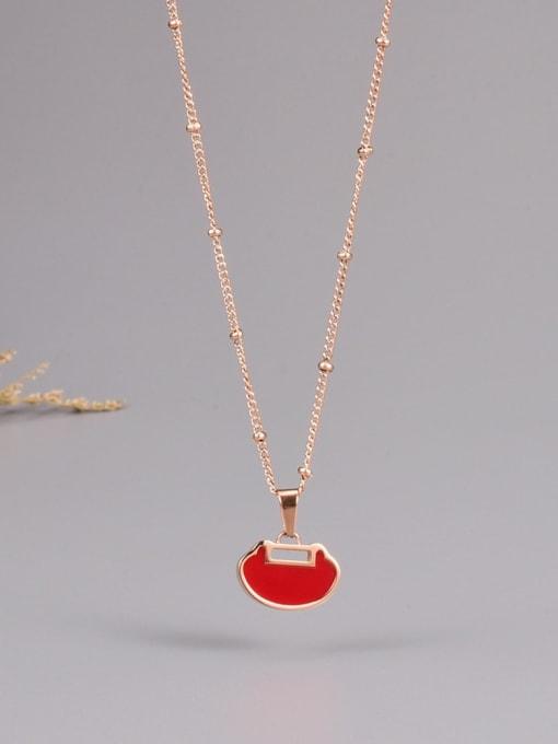 A TEEM Titanium Steel Enamel Heart Minimalist Necklace