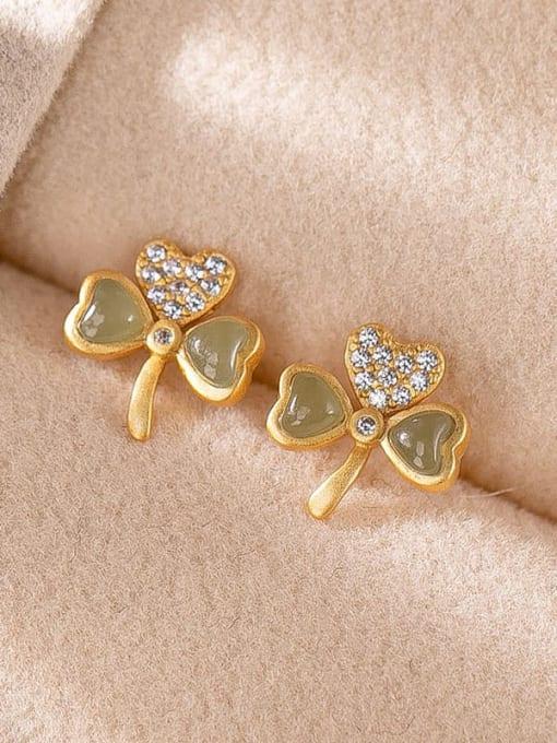 DEER 925 Sterling Silver Jade Clover Cute Stud Earring 1