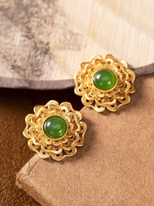 DEER 925 Sterling Silver Jade Flower Vintage Band Ring