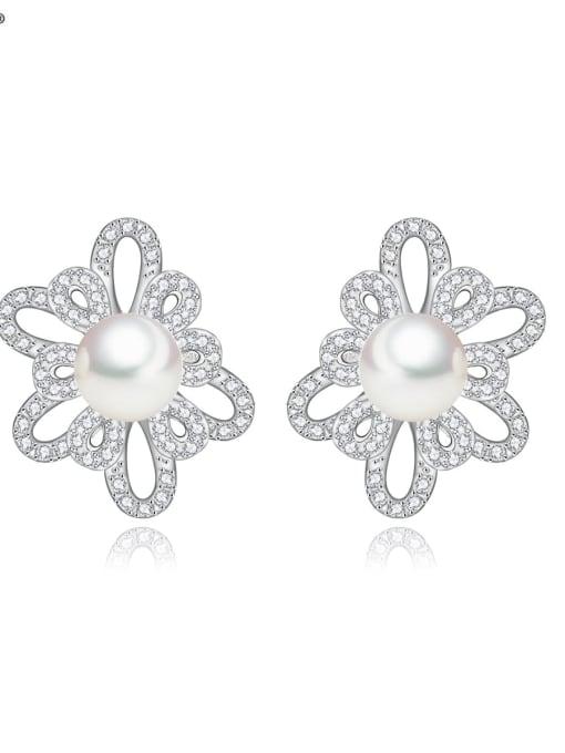 BLING SU Brass Cubic Zirconia Flower Luxury Stud Earring