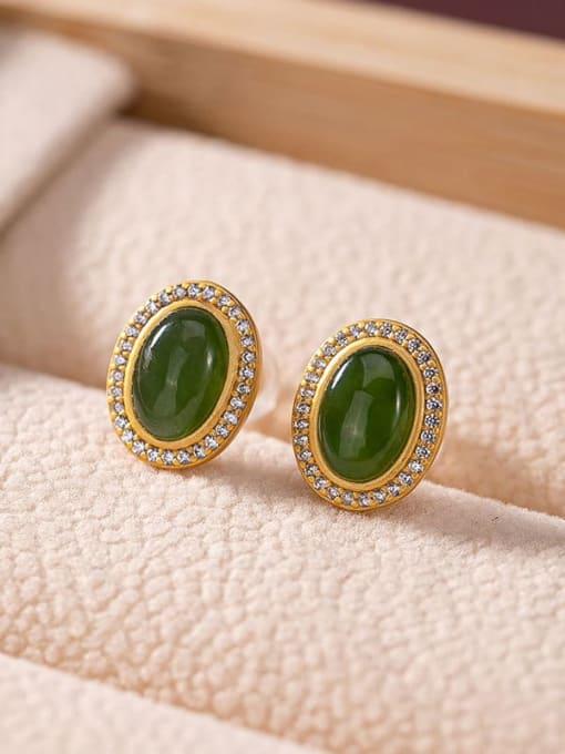 DEER 925 Sterling Silver Jade Oval Vintage Stud Earring