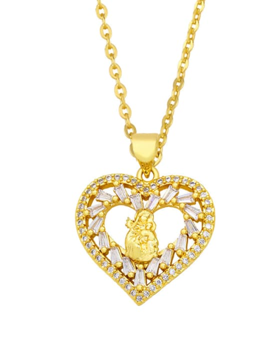 A Brass Cubic Zirconia Heart Vintage Necklace