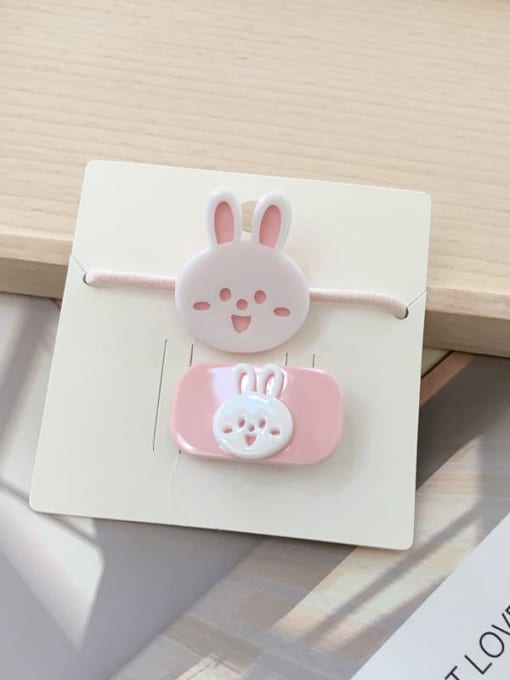 16 little rabbits Alloy Acrylic Cute Children cartoon animal fruit Hairpin Rubber band Set