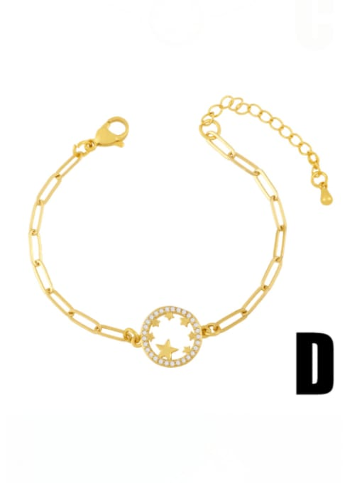D Brass Cubic Zirconia Heart Vintage Adjustable Bracelet