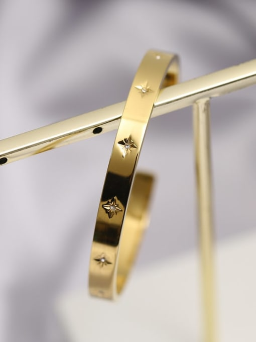 A TEEM Titanium Steel Rhinestone Geometric Minimalist Cuff Bangle 2