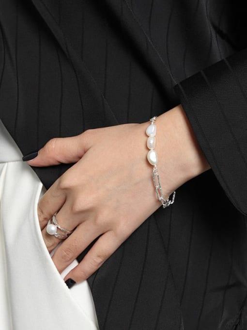 DAKA 925 Sterling Silver Freshwater Pearl Geometric Minimalist Strand Bracelet 1