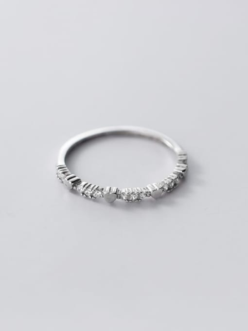 Rosh 925 Sterling Silver Cubic Zirconia Heart Dainty Band Ring 2