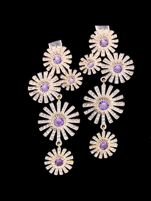 Purple Brass Cubic Zirconia Flower Luxury Cluster Earring