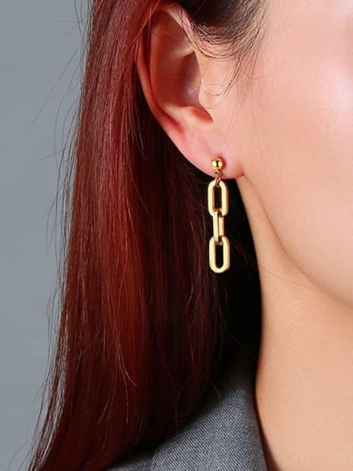 CONG Titanium Steel Geometric Minimalist Drop Earring 2