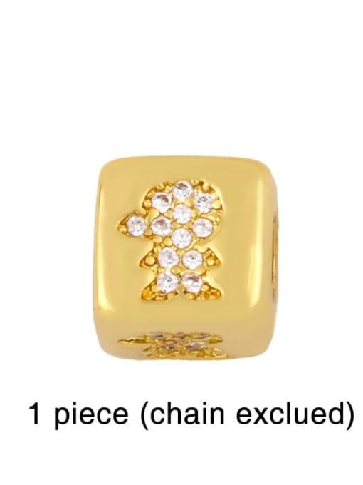 boy Brass Cubic Zirconia square Letter Minimalist Adjustable Bracelet