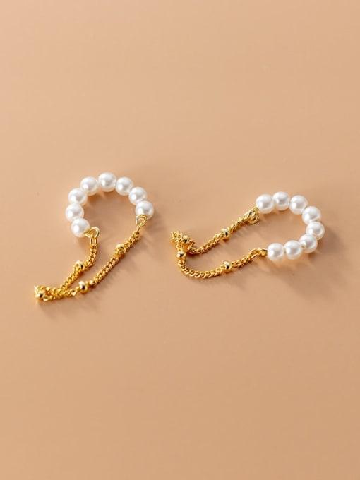 Rosh 925 Sterling Silver Imitation Pearl Geometric Minimalist Threader Earring