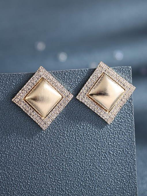 Luxu Brass Cubic Zirconia Geometric Trend Stud Earring 1