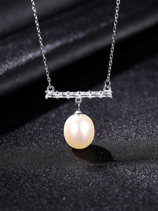 White 8D04 925 Sterling Silver Freshwater Pearl Geometric Dainty Necklace