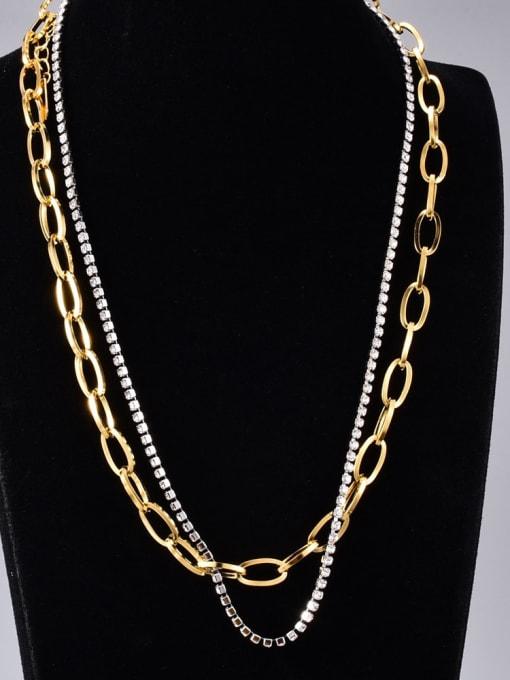 A TEEM Titanium Steel Cubic Zirconia Geometric Minimalist Multi Strand Necklace