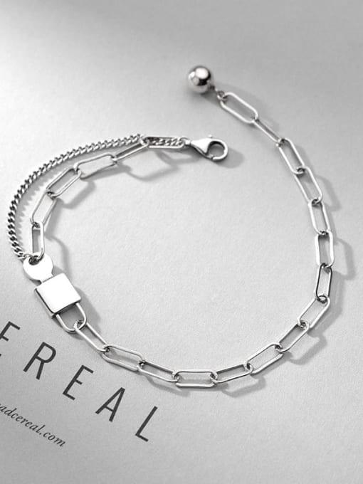 Rosh 925 Sterling Silver Geometric Vintage Link Bracelet 1