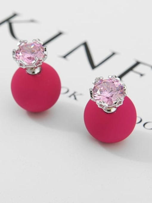 Rose Red Pearl Platinum t03b14 Copper Cubic Zirconia Geometric Minimalist Stud Earring